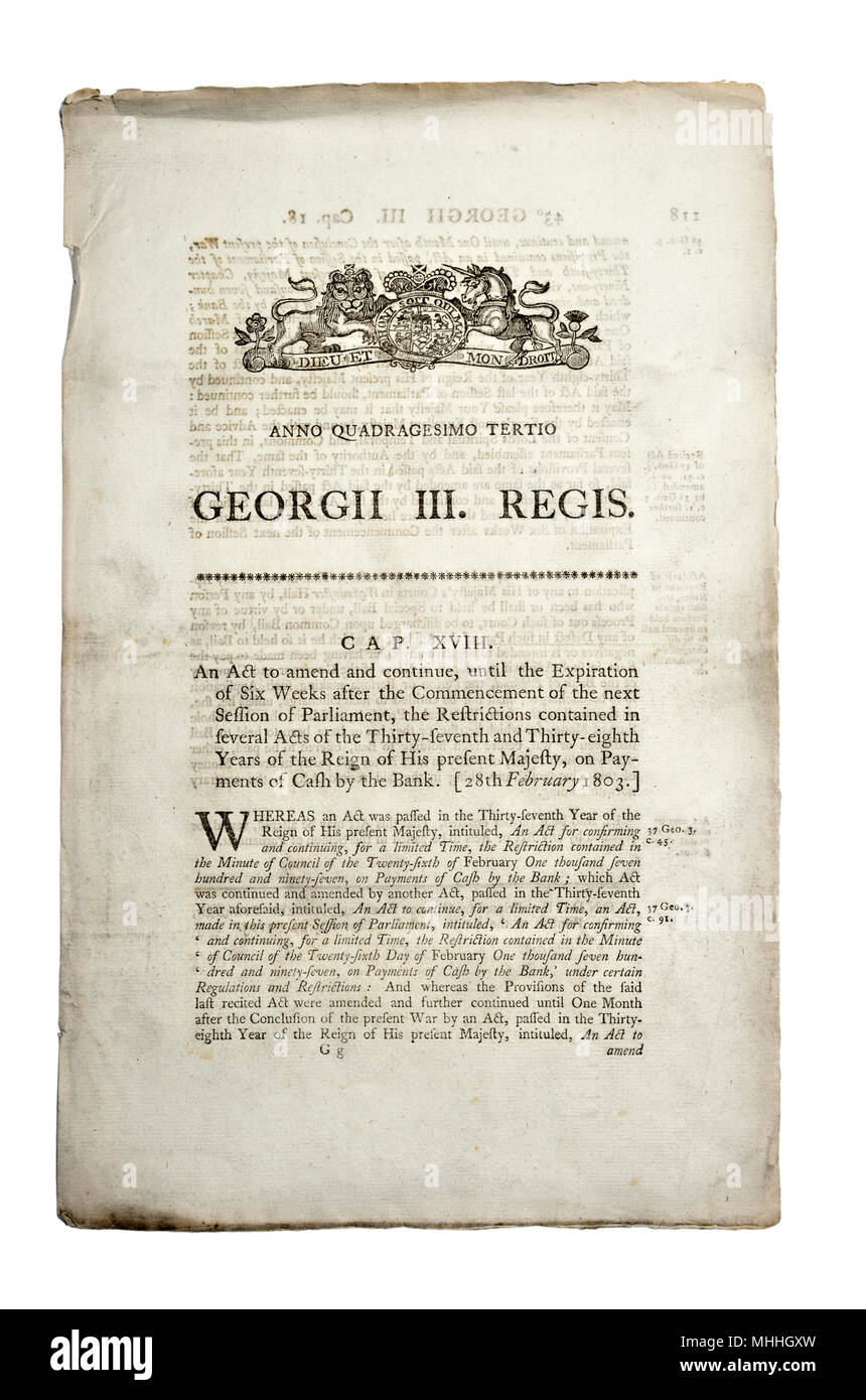 Original Act of Parliament document from 1803 (George III) Amendment - Stock Image