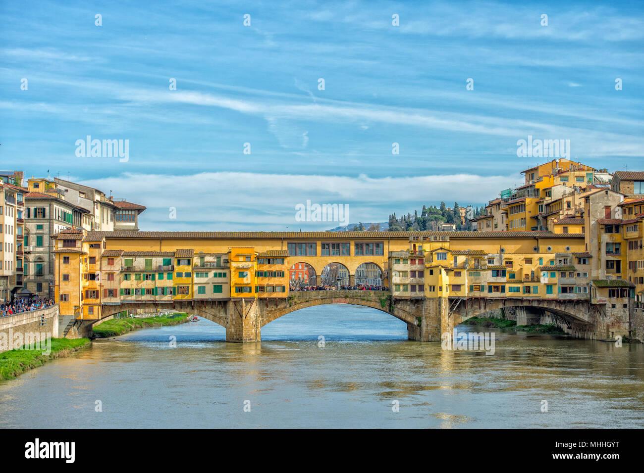 Florence Ponte Vecchio bridge view cityscape - Stock Image