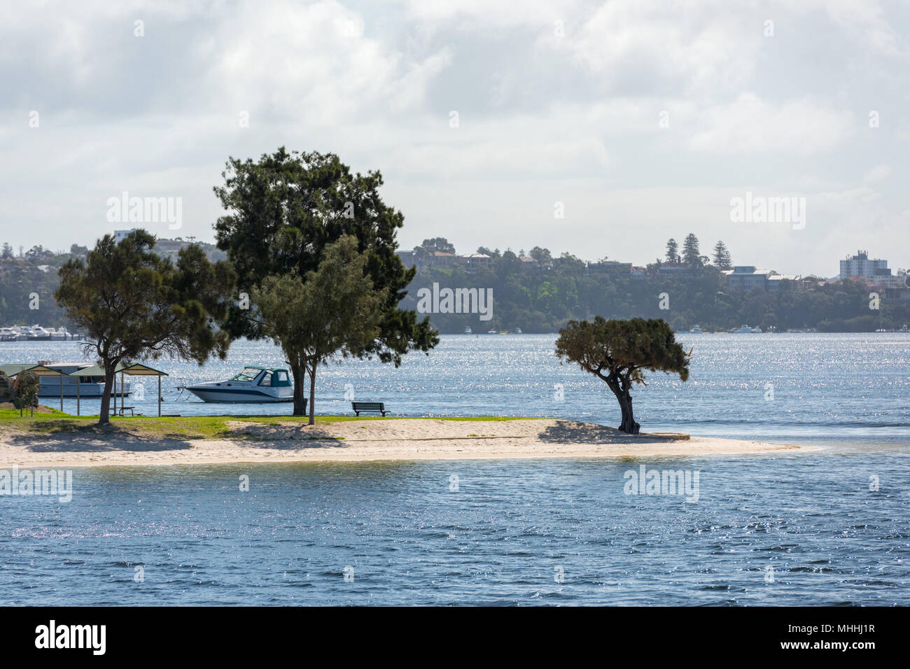 perth bay fremantle by the sea houses landscape panorama - Stock Image