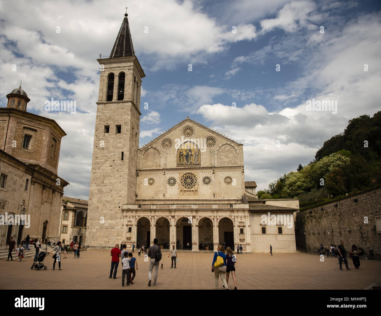Palazzo Vescovile, museum and main square of the beautiful medieval city in the heart of the Umbria region, middle Italy. Stock Photo