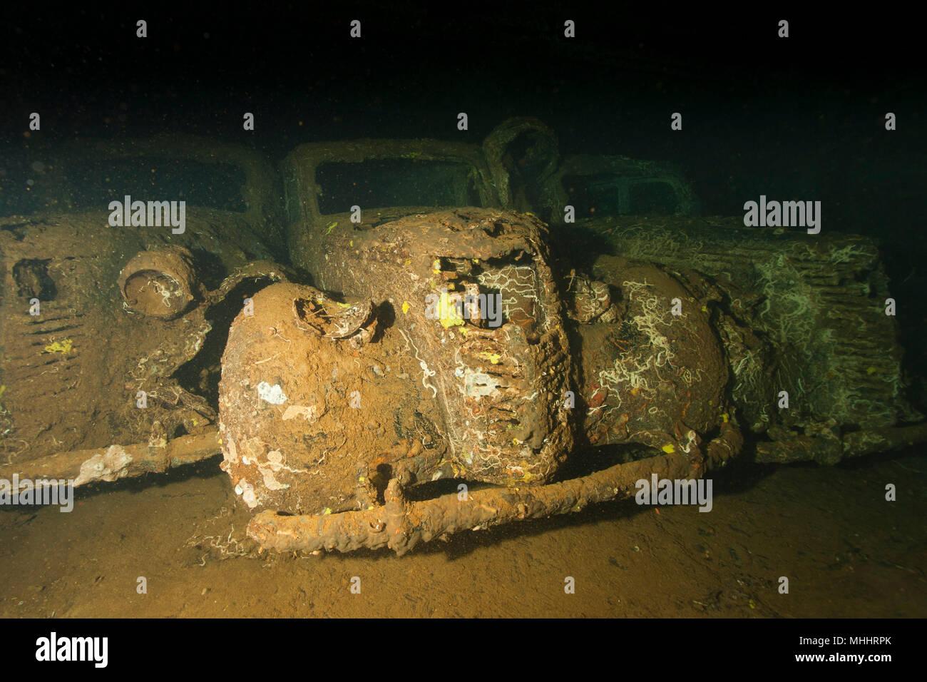 Old Car inside II world war ship wreck hold Stock Photo: 182944683 ...