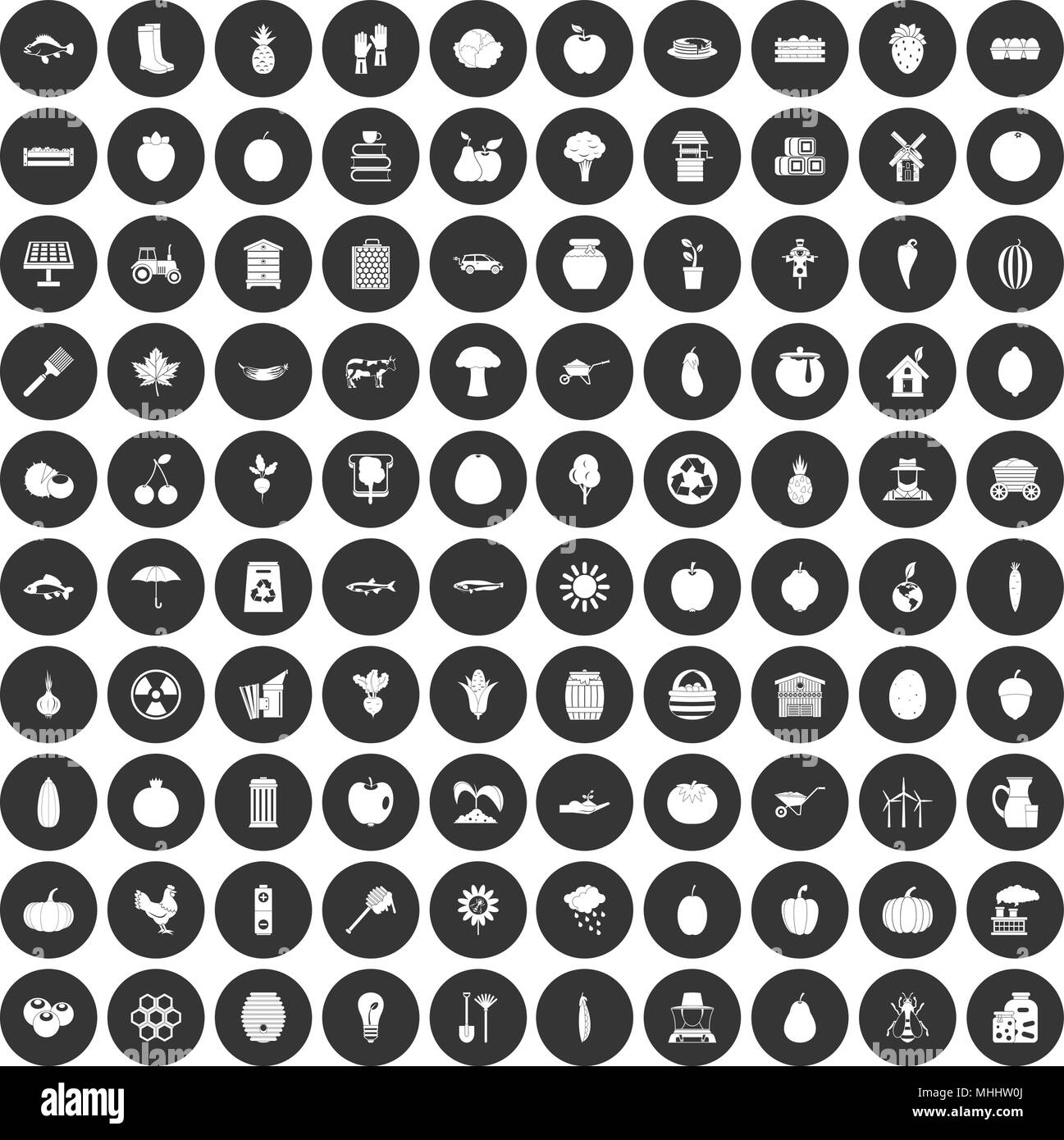100 vitamins icons set black circle - Stock Image
