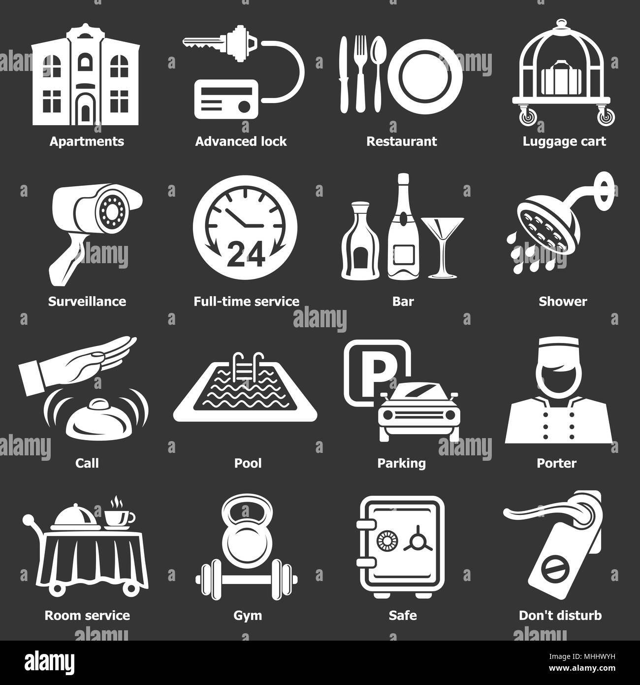 Hotel service icons set grey vector - Stock Image