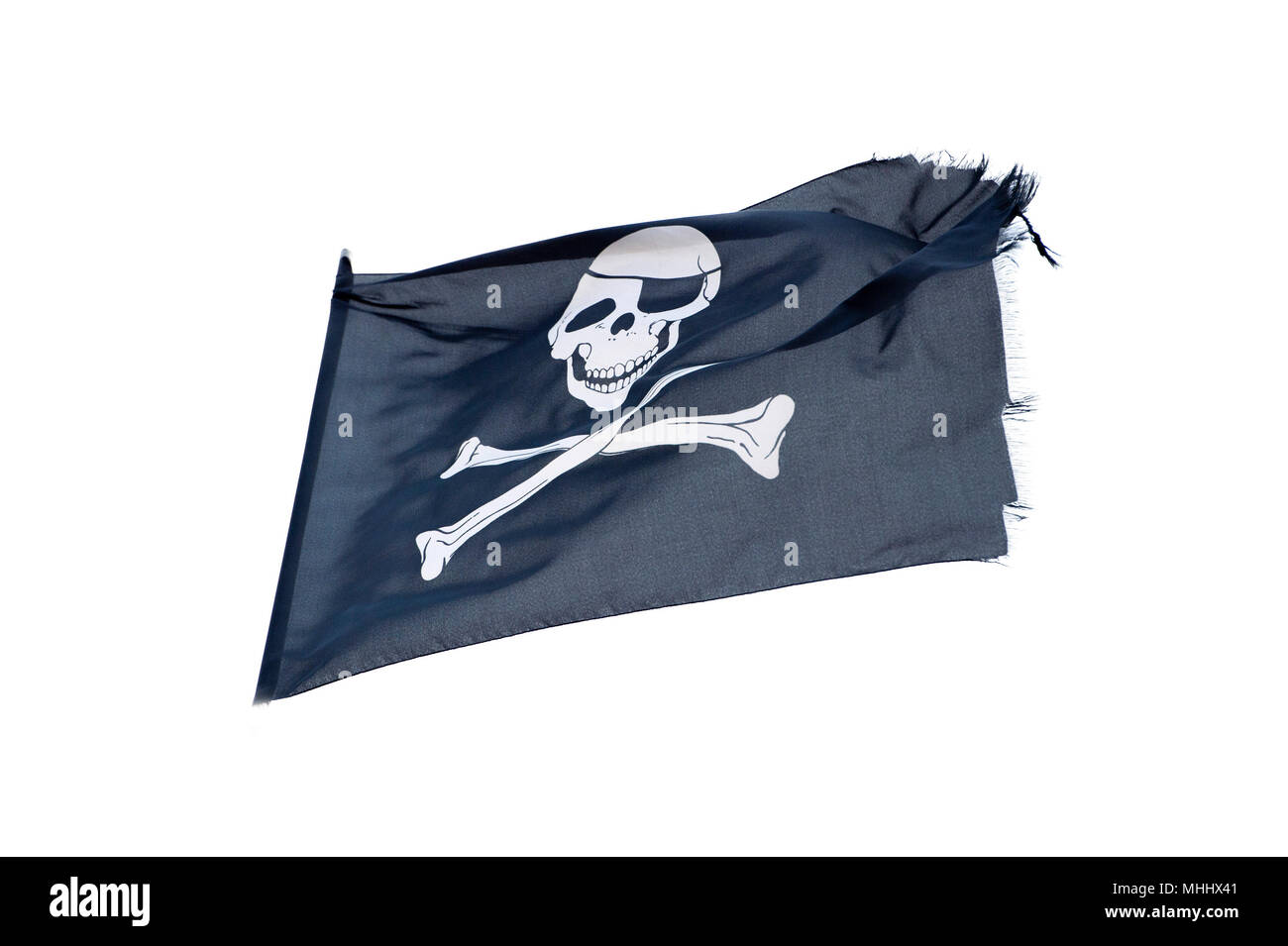 waving pirate flag jolly roger on white background - Stock Image