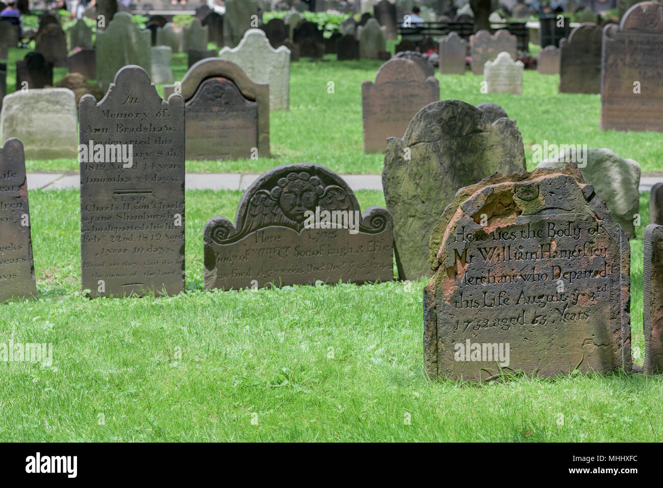 NEW YORK - USA - 11 JUNE 2015  - trinity old tombstones of 1700 - Stock Image