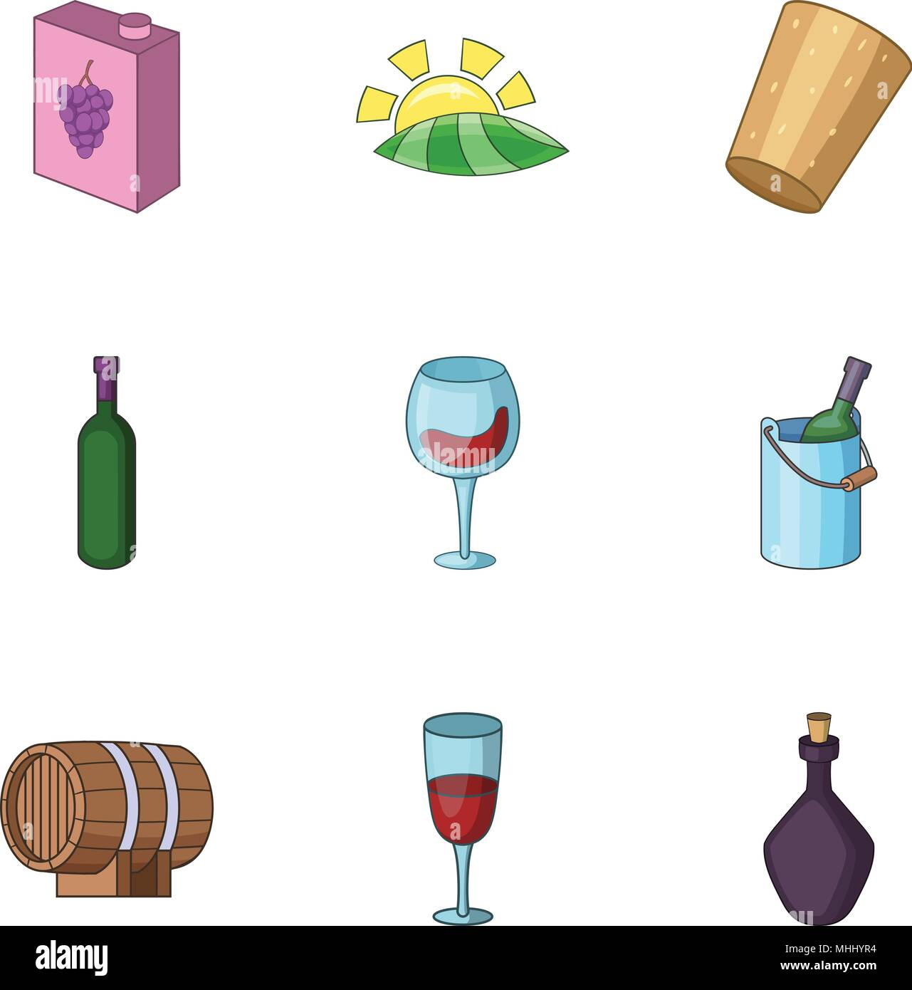 Alcoholic drink icons set, cartoon style - Stock Image