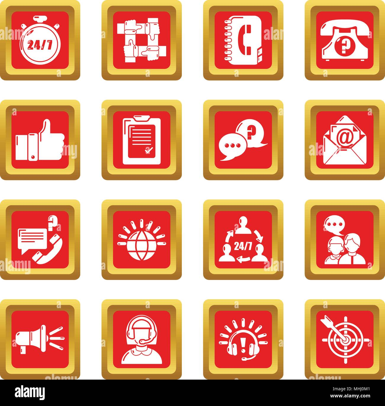 Call center icons set red square vector - Stock Vector