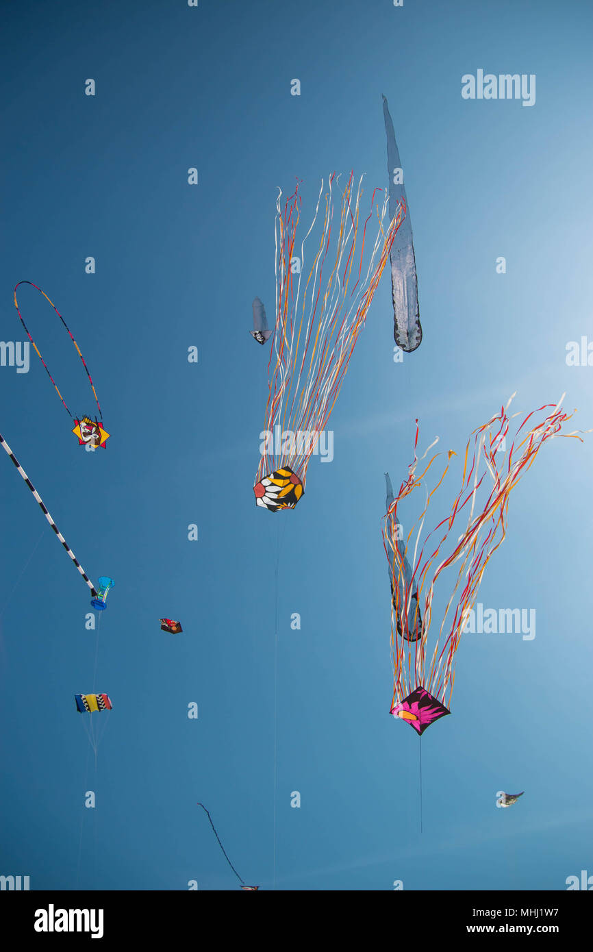 Many colorful kites in different shapes on the beach at Cervia international kite festival 'Artevento' 2018. vertical shot. - Stock Image