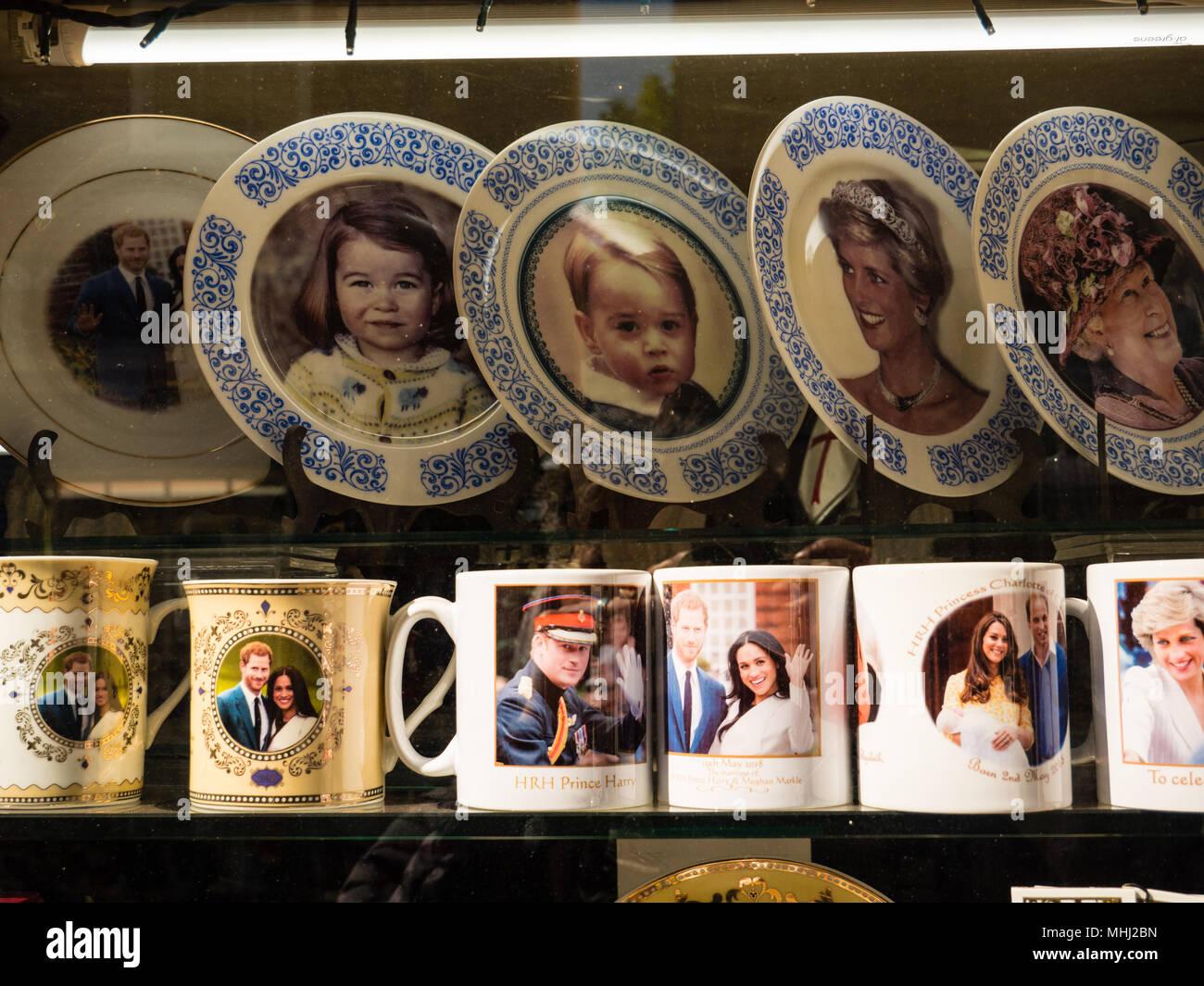 Royal Wedding 2018, Memorabilia, Shop Window, Windsor, Berkshire, England, UK, GB. - Stock Image