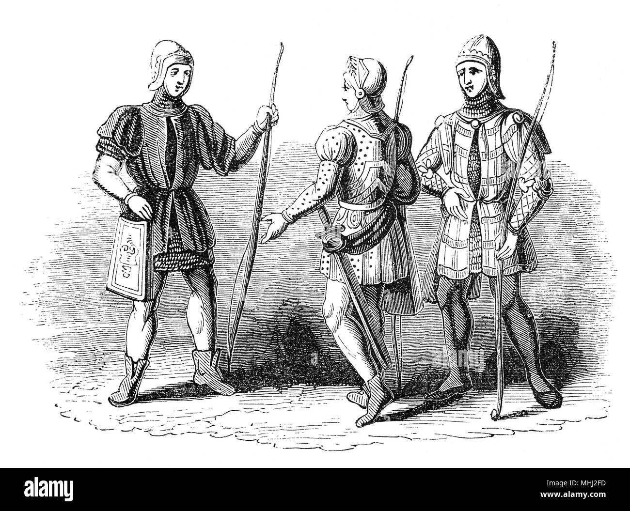 Archers with English longbows, a powerful medieval weapon about 6 ft (1.8 m) long used by the English in medieval warfare. The English use of longbows was particularly effective against the French during the Hundred Years' War, particularly at the start of the war in the battles of Sluys (1340), Crécy (1346), and Poitiers (1356), and perhaps most famously at the Battle of Agincourt (1415). - Stock Image