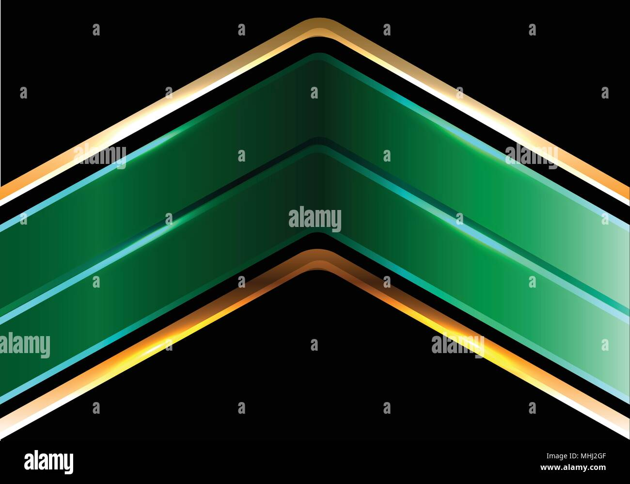 abstract double green gold line arrow on black design