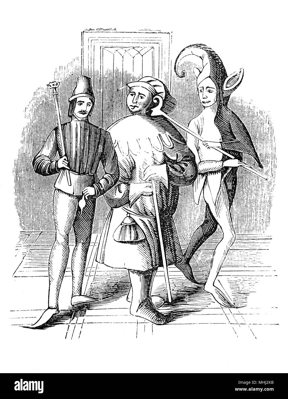 A buffoon and court fool during the medieval and Renaissance eras. They were employed to entertain the monarch or noblemen and his guests. They are thought to have worn brightly coloured clothes and eccentric hats in a motley pattern whilst making music and storytelling, along with acrobatics, juggling, telling jokes, and magic tricks.  In similar vein, buffoon is a term for someone who provides amusement through inappropriate appearance or behavior. - Stock Image