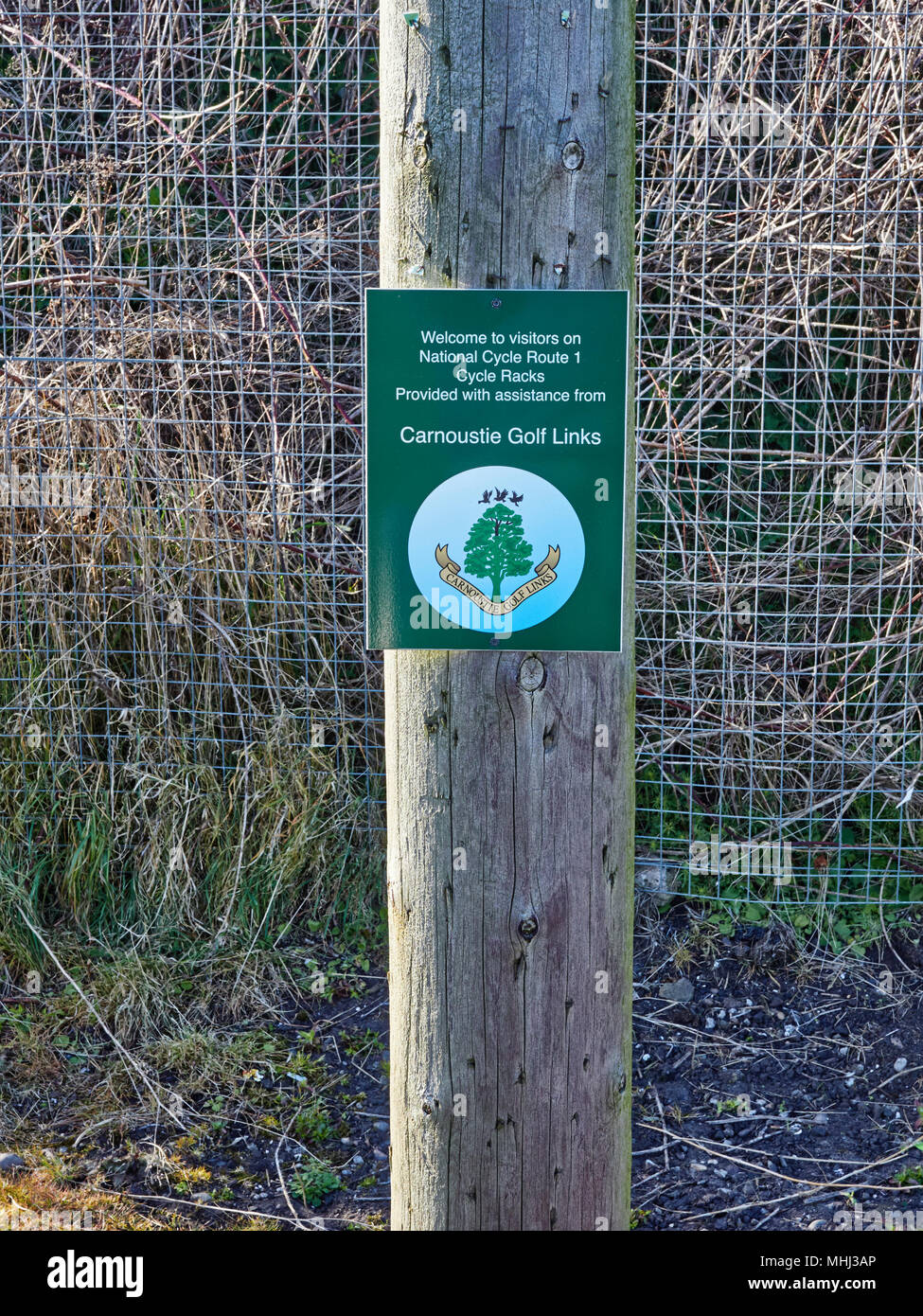 A notice for a Cycle Rack put in place in East Haven with the help and support from the Carnoustie Golf Links, just down the road. East Haven, Angus,  - Stock Image