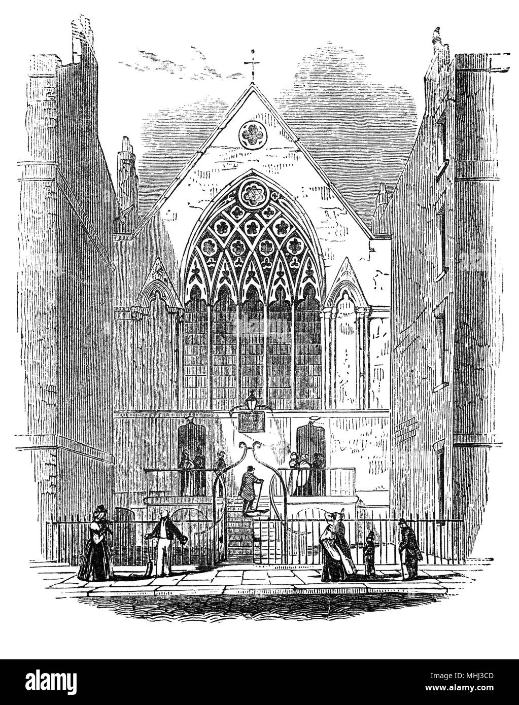 The Chapel of Ely Palace or Ely House, London townhouse of the Bishops of Ely from 1290 to 1772. On 17 October 1546, James Butler, 9th Earl of Ormond, a powerful Munster landowner who had served in the household of Cardinal Wolsey in his youth, crossed the quarrelsome Lord Deputy of Ireland, Sir Anthony St Leger, who was visiting London with his household. They were invited to dine at Ely Palace, where Ormond was poisoned along with his steward and 16 of his household, it was widely assumed, at the instructions of St Leger. - Stock Image
