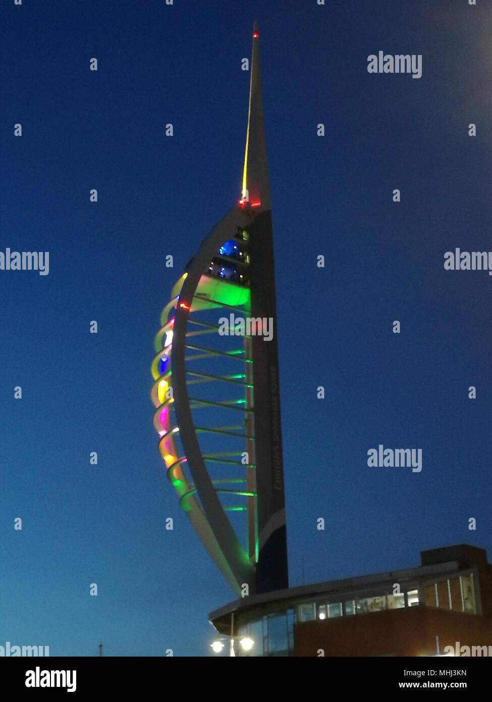 Spinnaker Tower Portsmouth at night Stock Photo