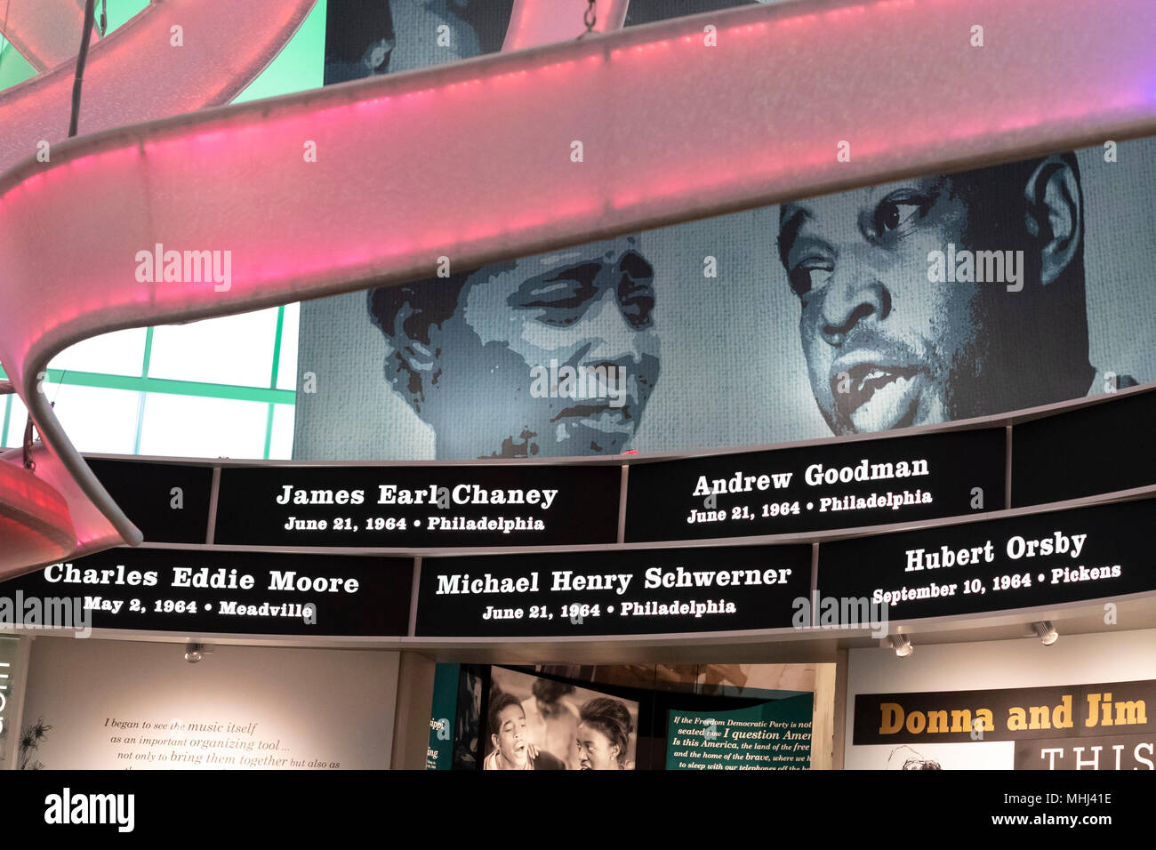 Jackson, Mississippi - The names of civil rights martyrs encircle the rotunda at the Mississippi Civil Rights Museum. Included are James Chaney, Andre - Stock Image