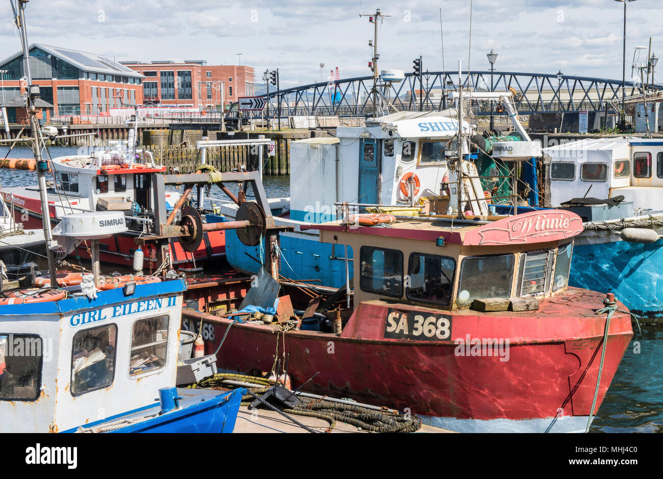 Close up of Fishing Boats in the River Tawe at Swansea Marina South Wales - Stock Image