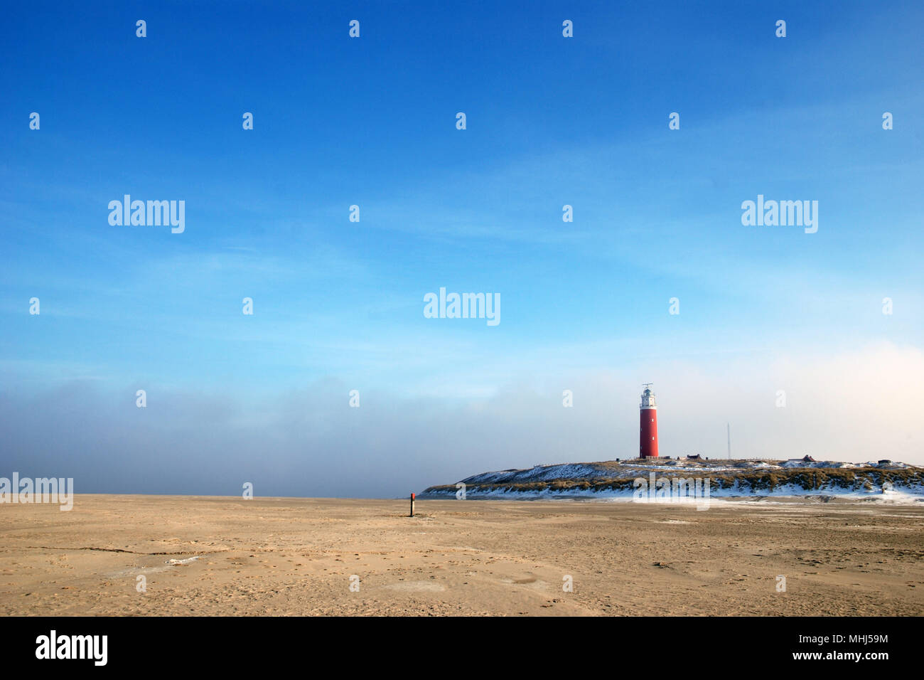 Lighthouse at isle Texel, Holland Europe. Vuurtoren. Stock Photo