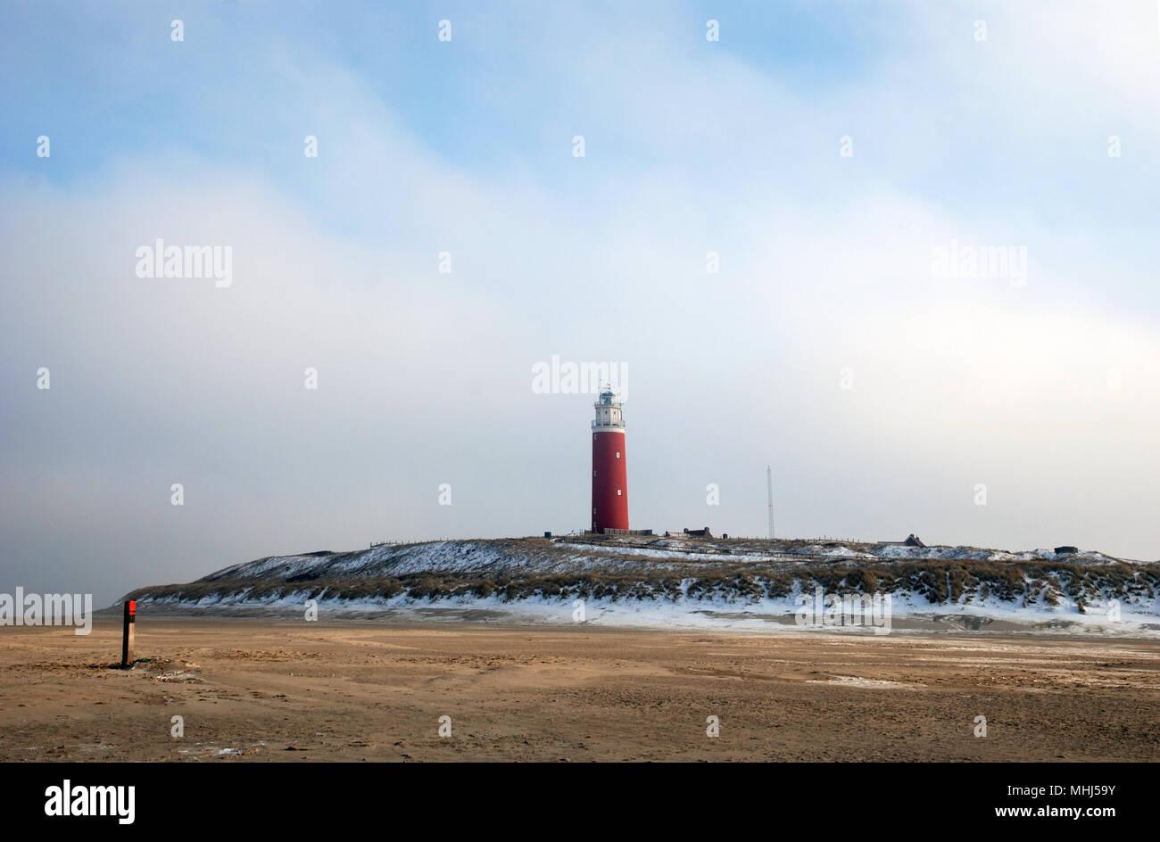 Lighthouse at isle Texel, Holland Europe. Vuurtoren. Stock Photo