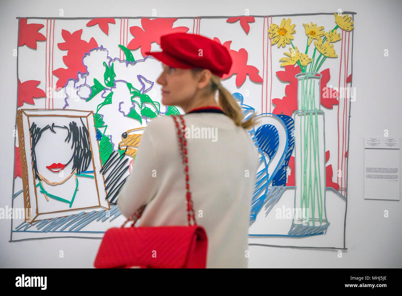 A woman looks at picture of Tom Wesselmann at the exhibition 'The Tour. Ludwig Museum - the collection of Russian Museum at MAMM' in MAMM in Moscow - Stock Image