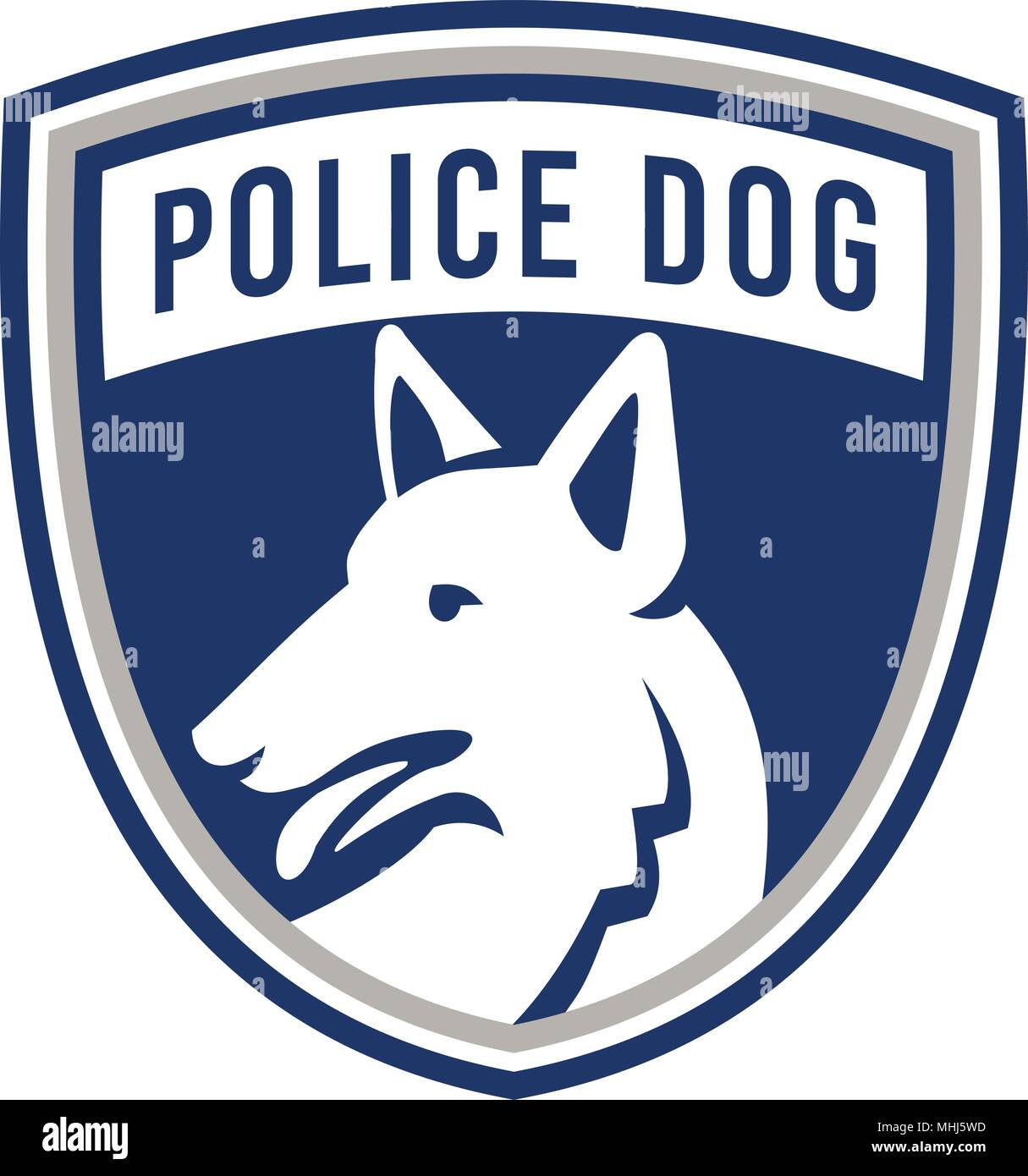 Mascot icon illustration of head of a police dog, German Shepherd, Alsatian wolf dog or sometimes abbreviated as GSD looking to side set inside shield - Stock Vector
