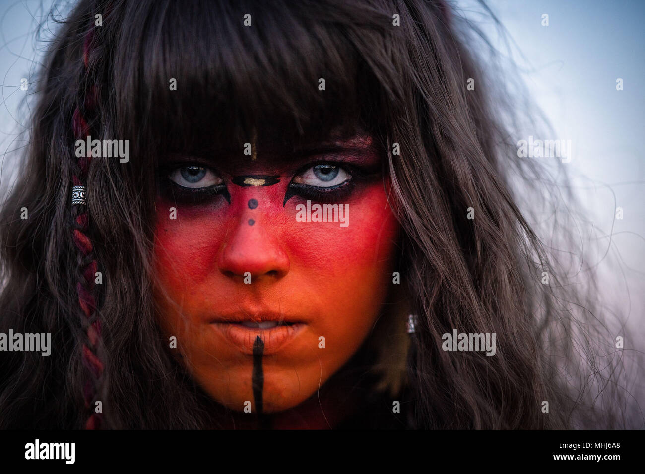 Edinburgh   April 30 2018;  Beltane Fire Festival takes place on Calton Hill to ushers in summer with a display of fire, theatre, drumming, body paint - Stock Image