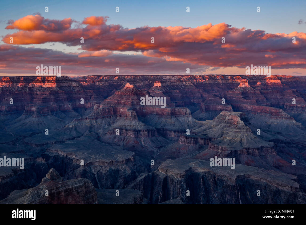 Rock formations and canyons from Maricopa Point, Grand Canyon National Park, Arizona USA - Stock Image