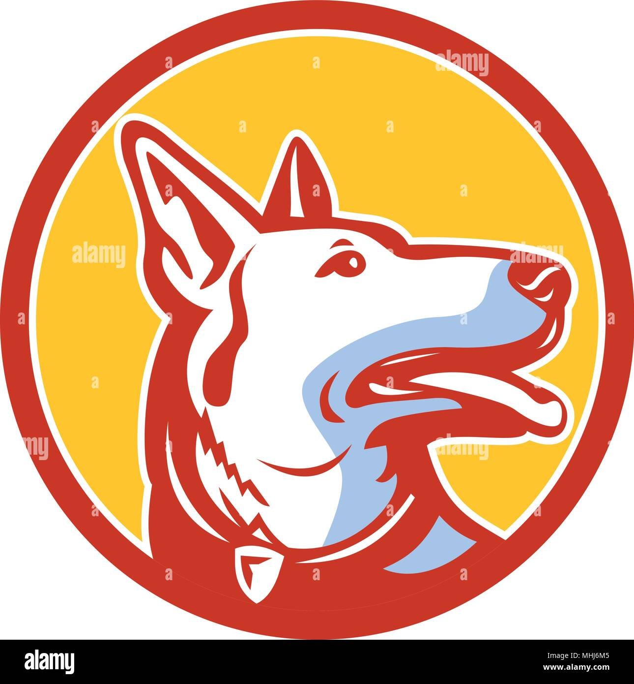 Mascot icon illustration of head of a police dog, German Shepherd, Alsatian wolf dog or sometimes abbreviated as GSD looking up set inside circle view - Stock Vector