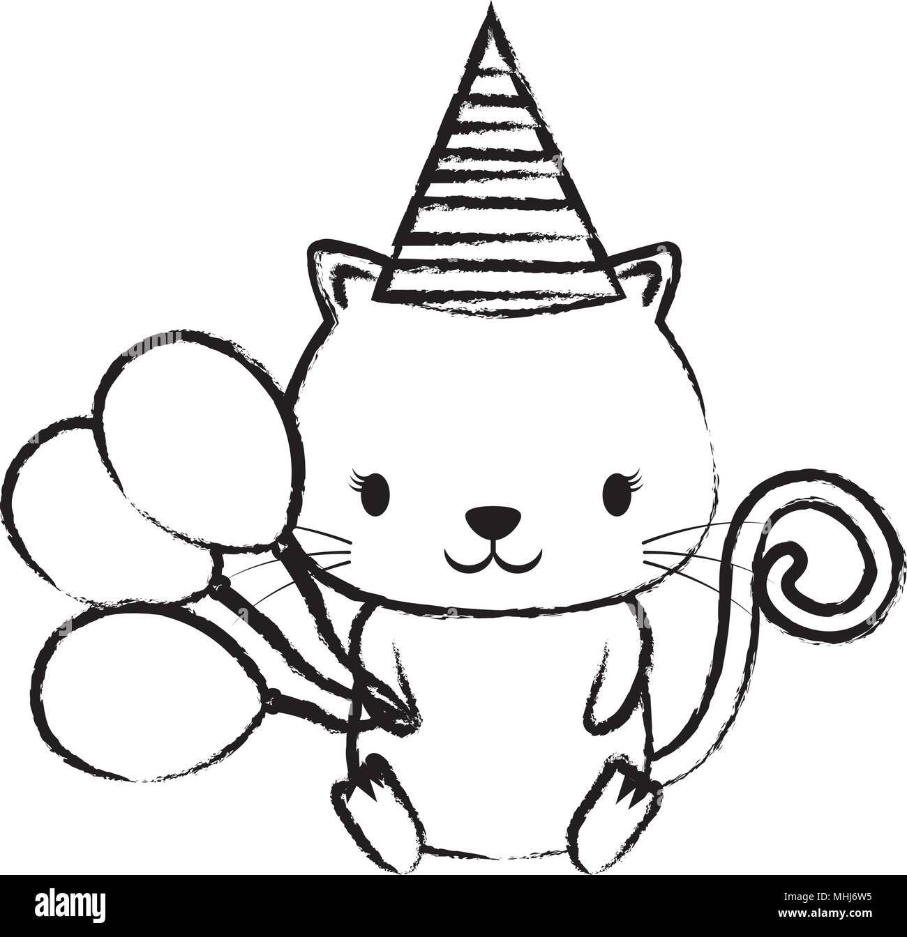 Happy Birthday Design With Cute Cat Hat And Balloons Over White Background Sketch Vector Illustration