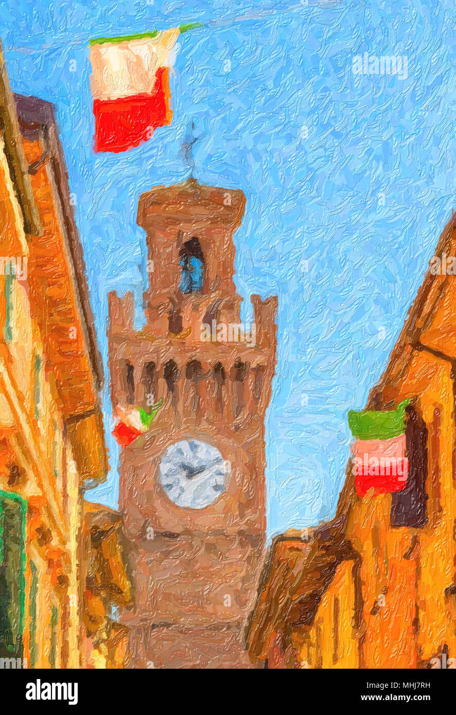 illustration of old city street with colorful houses, clock tower and waving Italian flags - Stock Image