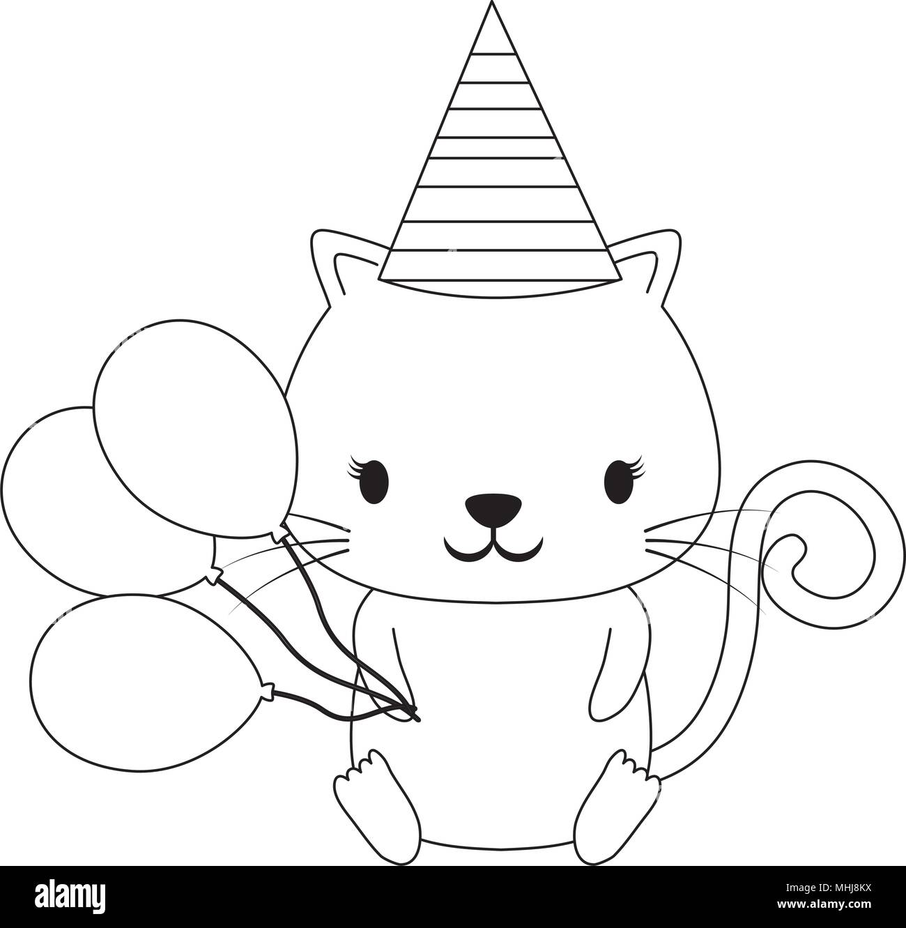 Happy Birthday Design With Cute Cat Hat And Balloons Over White Background Vector Illustration