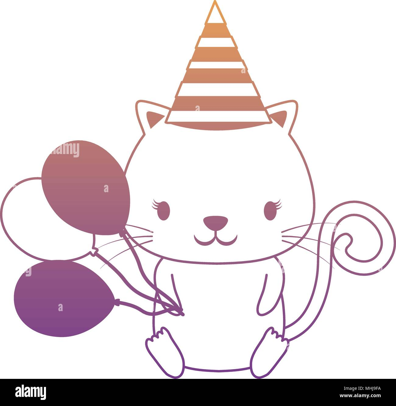 Happy Birthday Design With Cute Cat Hat And Balloons Over White Background Colorful Vector Illustration
