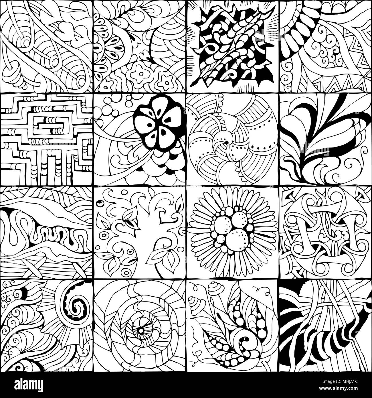 Vector Adult Coloring Book Textures Various Patterns 16 Pieces