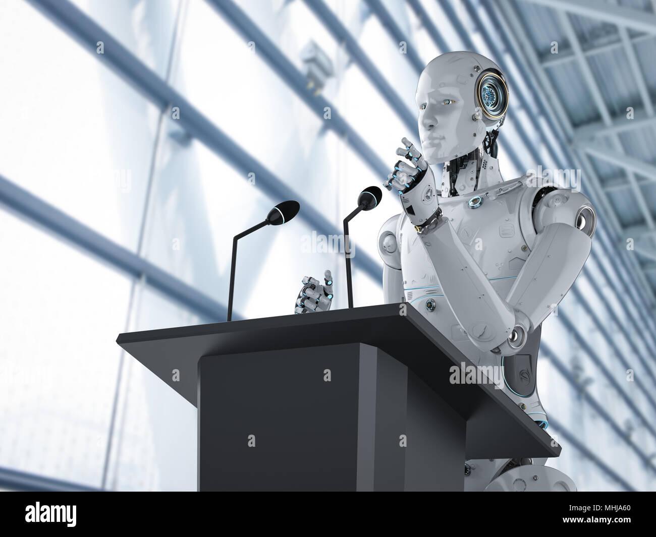 3d rendering robotic public speaker speaking on podium - Stock Image