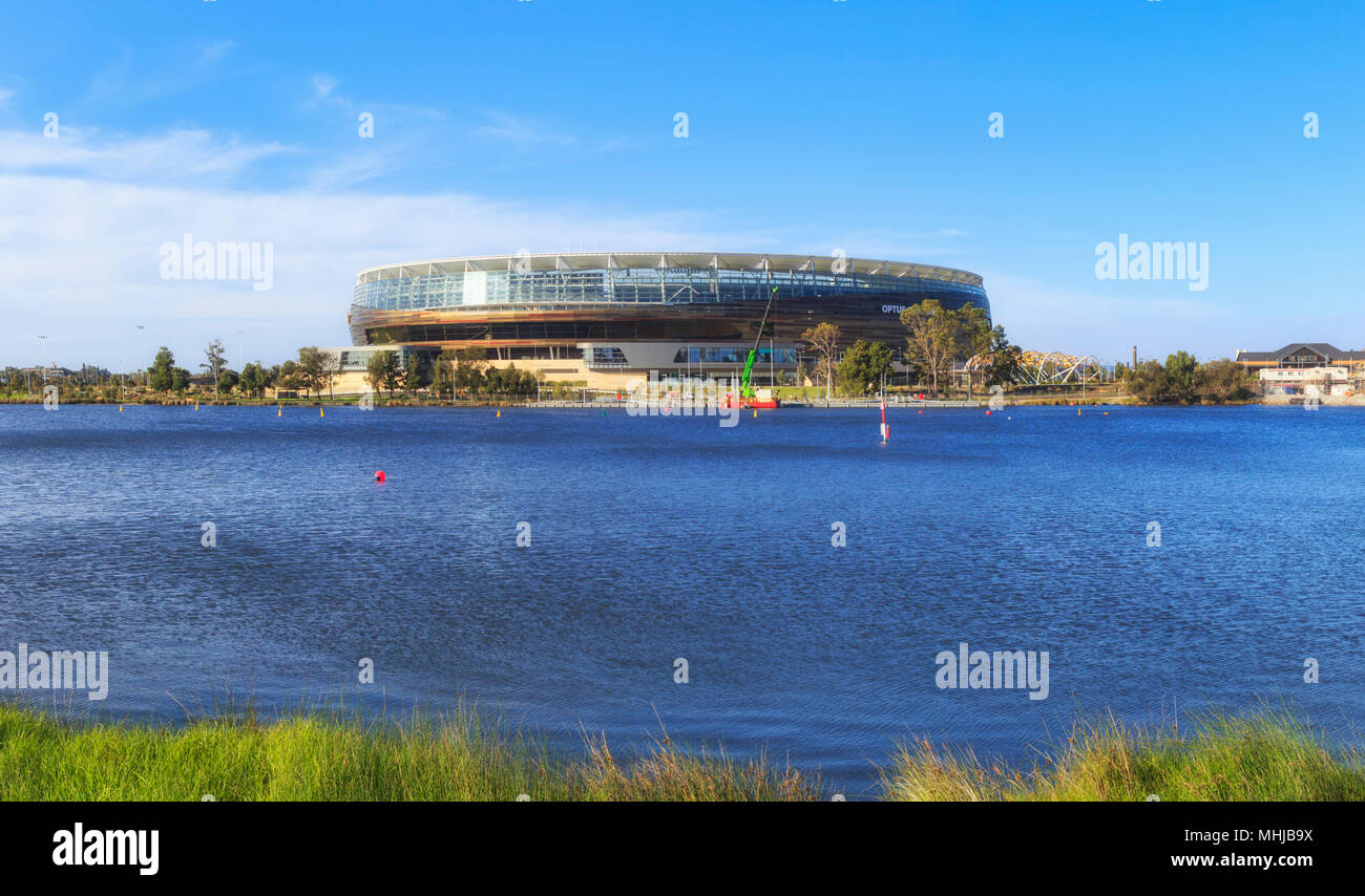 Optus Stadium beside the Swan river - Stock Image