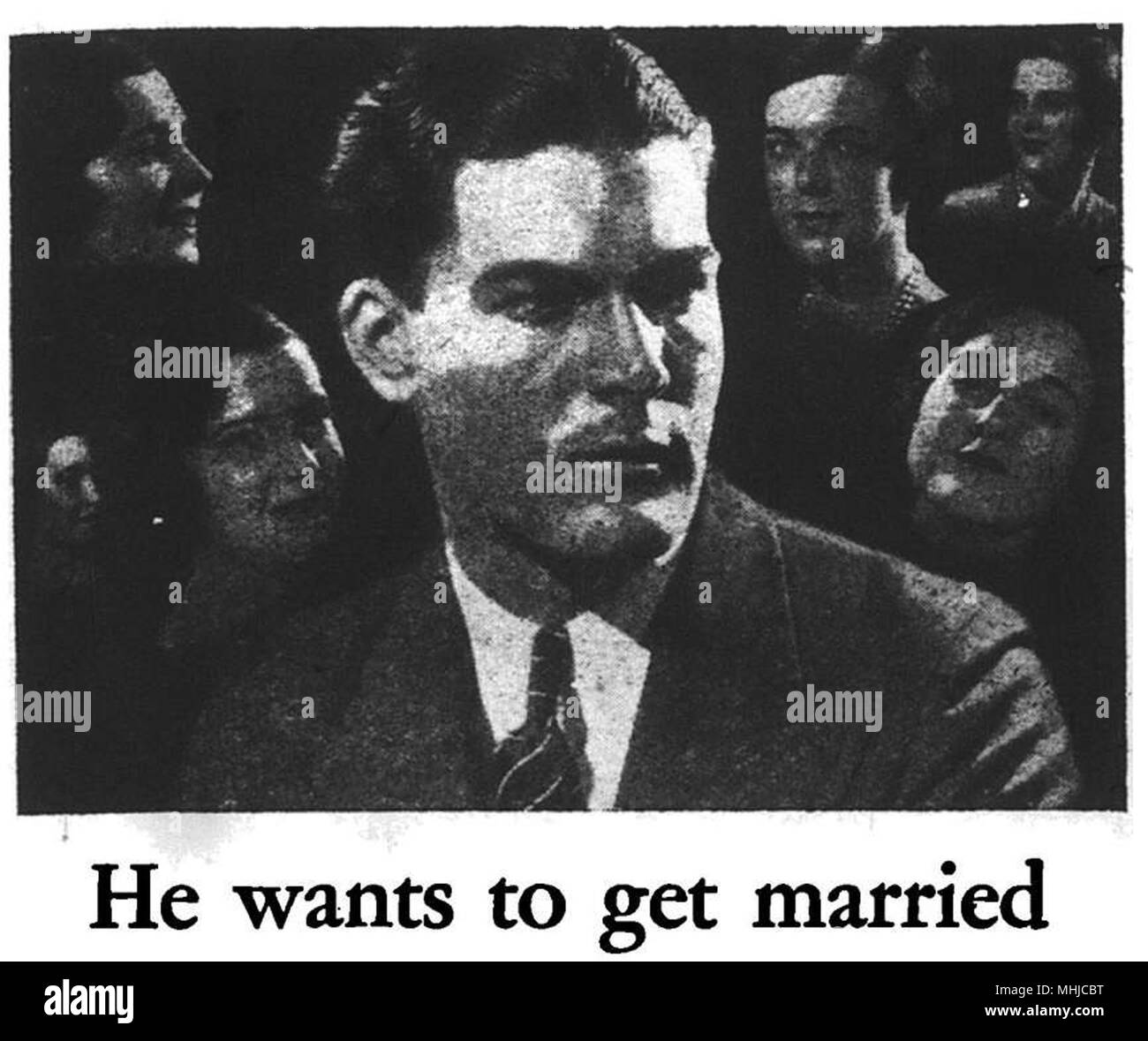 headshot of a man illustration 'he wants to get married' - Stock Image