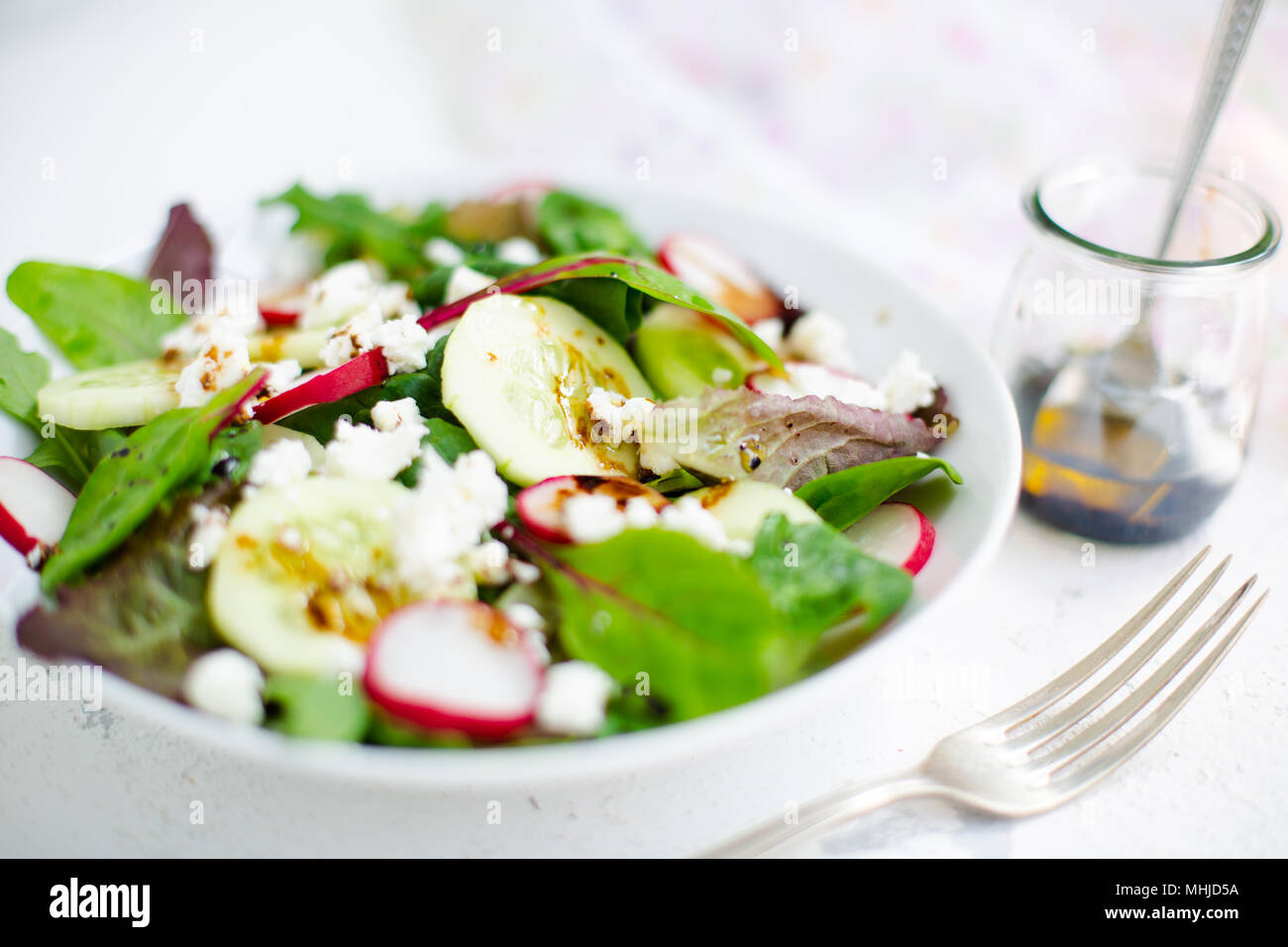 Mixed salad with baby leaves of red lettuce, tatsoi, arugula, red chard, radish, cucumber and feta cheese with olive oil and balsamic vinegar dressing - Stock Image