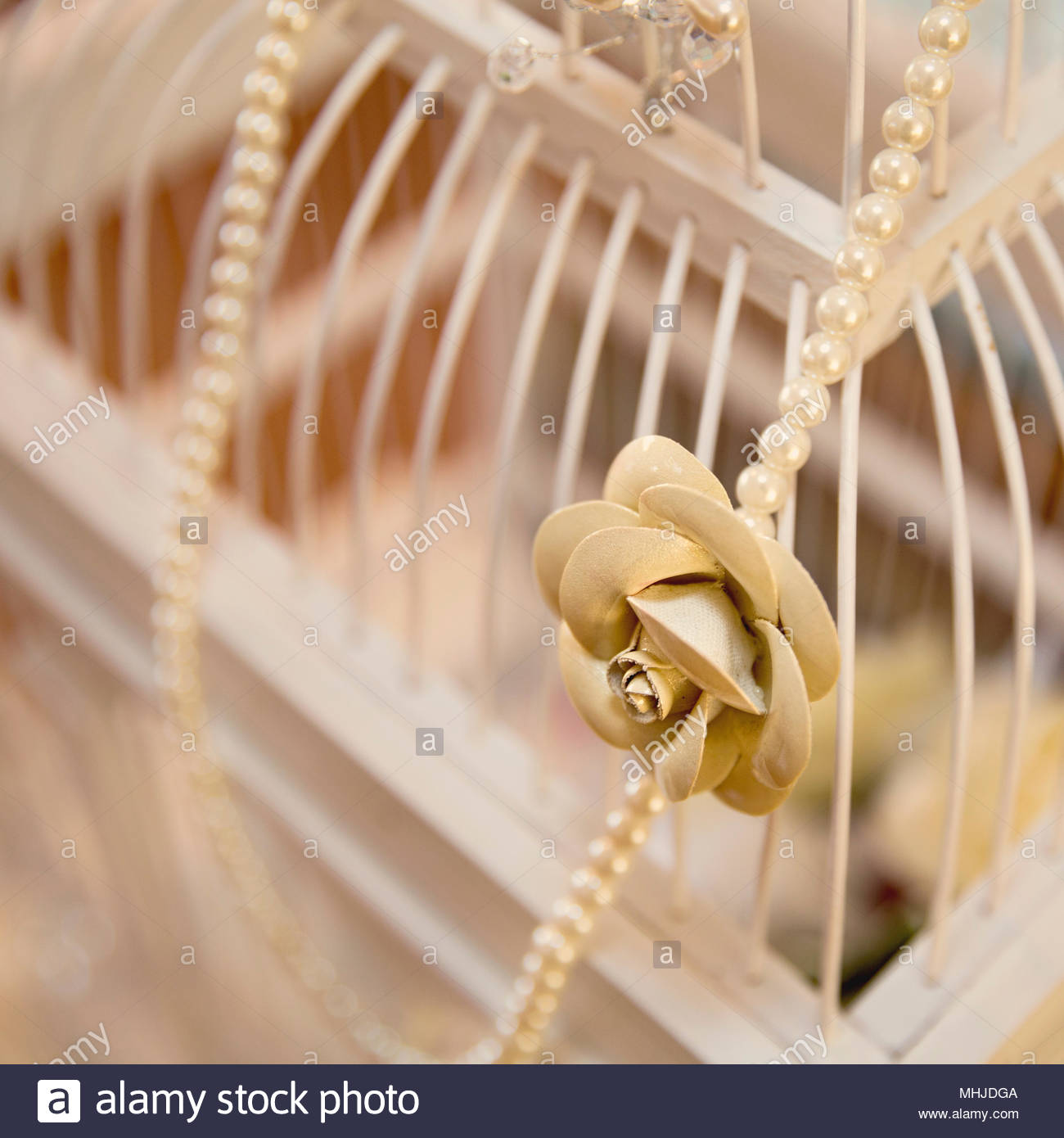 Decorated Bird Cage For Gifts Of Money At A Wedding Stock Photo