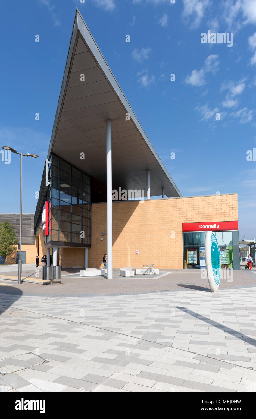 Modern architecture buildings at Orbital Shopping Park developed by British Land, north Swindon, Wiltshire, England, UK - Stock Image