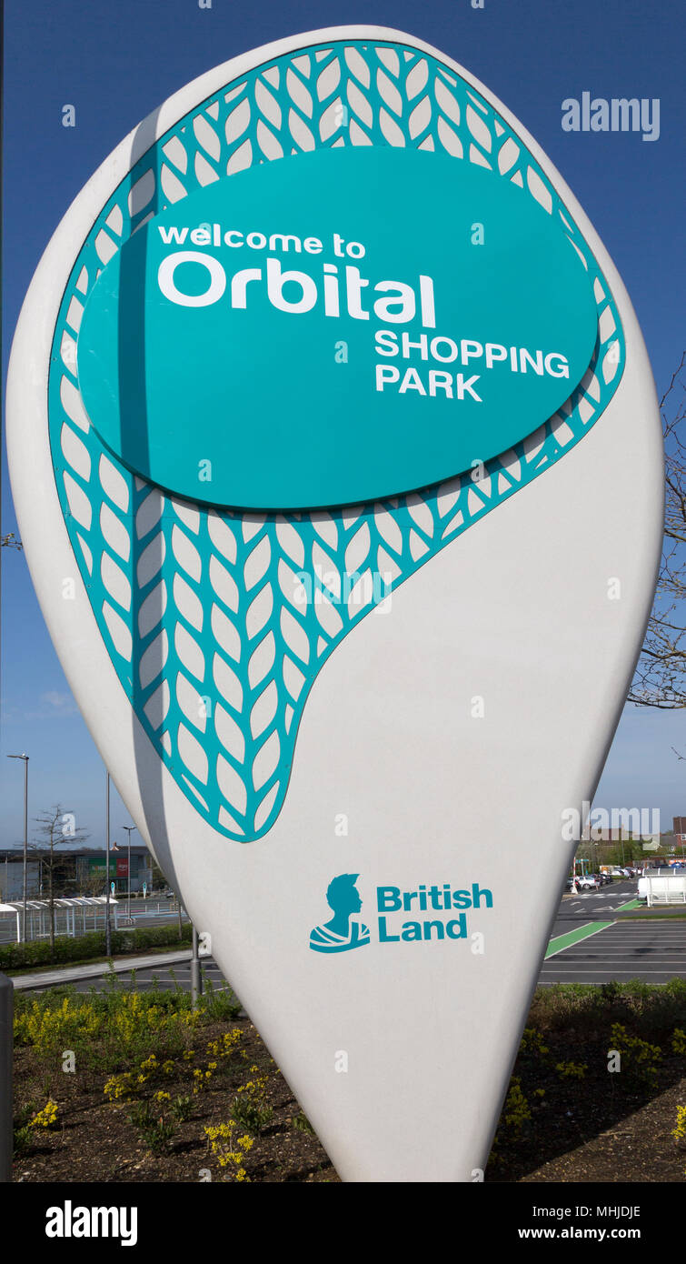 Sign for Orbital Shopping Park developed by British Land, north Swindon, Wiltshire, England, UK - Stock Image