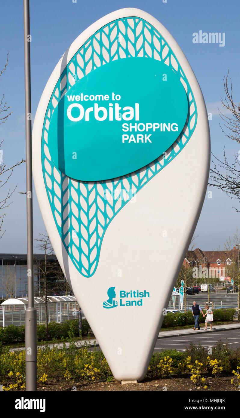 Sign for Orbital Shopping Park developed by British Land, north Swindon, Wiltshire, England, UK - Stock Image