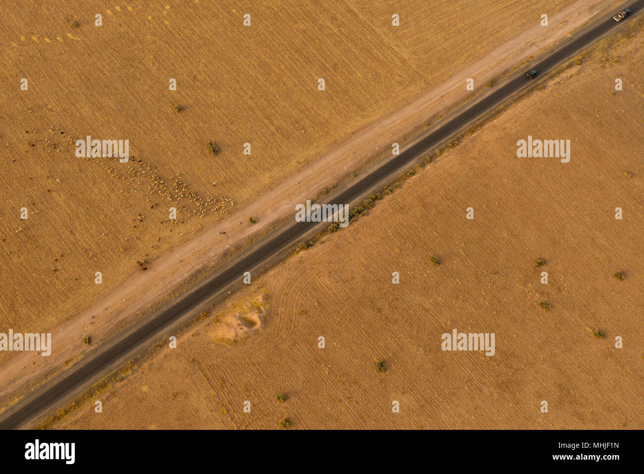 Maroc road in the desert near Marrakech aerial view - Stock Image