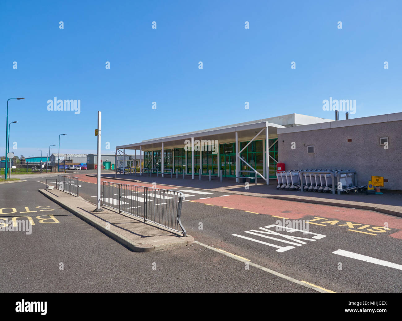 Dundee airport Terminal Building on a Bright Spring afternoon in Angus, Scotland. Stock Photo