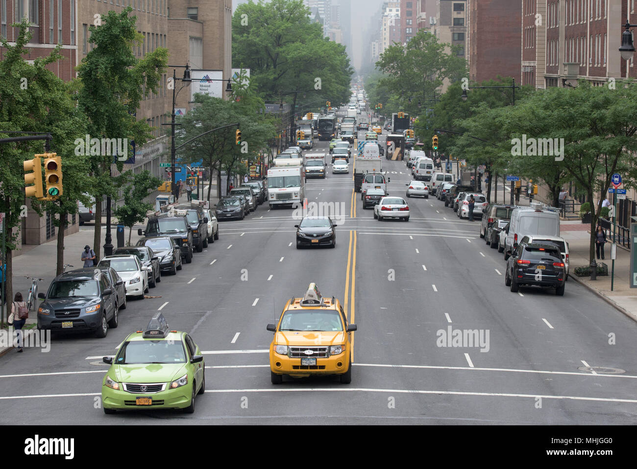NEW YORK CITY - JUNE 14 2015: town congested street and avenue also on sunday Stock Photo
