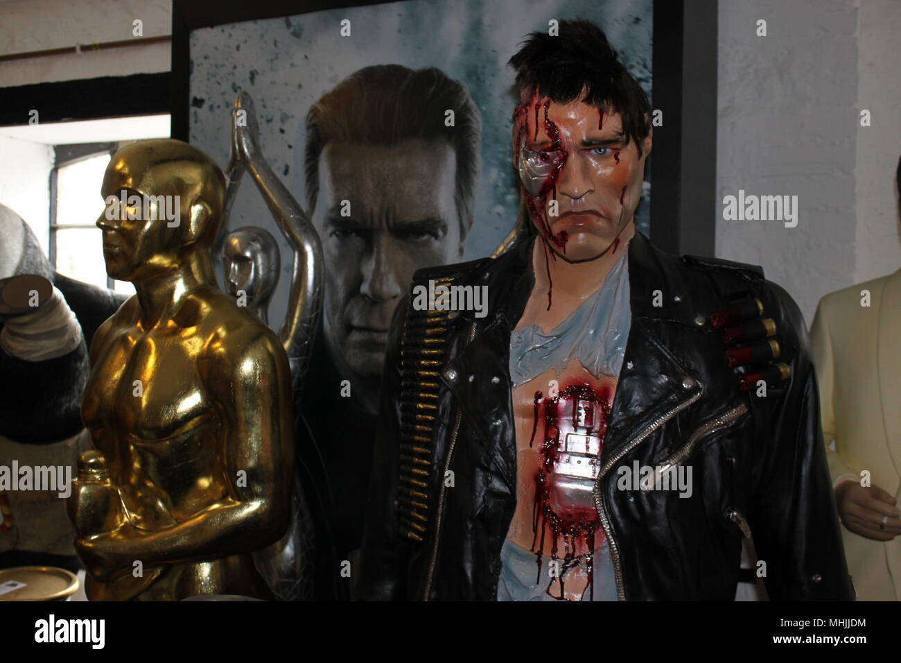 Life size Arnold Schwarzenegger resin model for sale from The Jolly Roger Limited, Bovey Tracey, Devon, England, UK, PETER GRANT - Stock Image