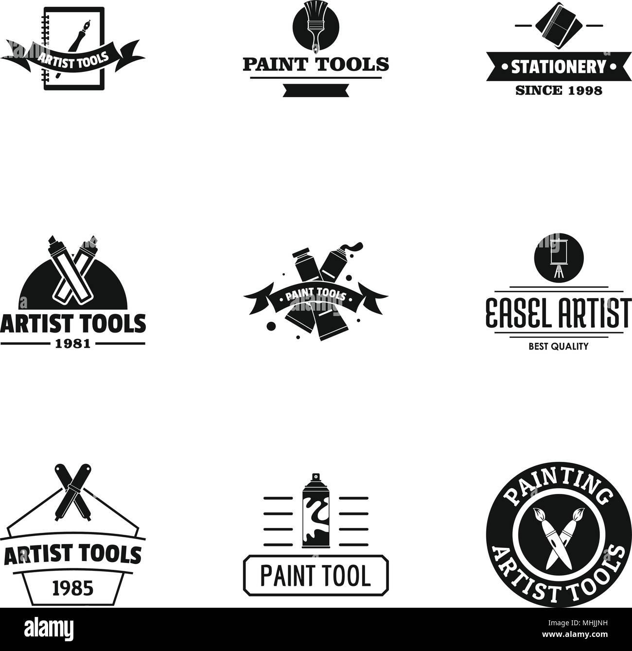 Artist Logo Set Simple Style Stock Vector Image Art Alamy