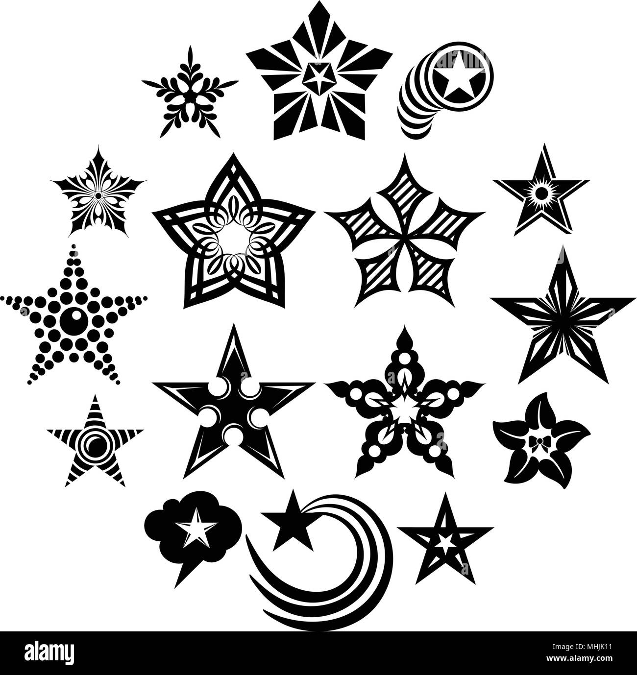 Decorative stars icons set, simple style Stock Vector Image & Art