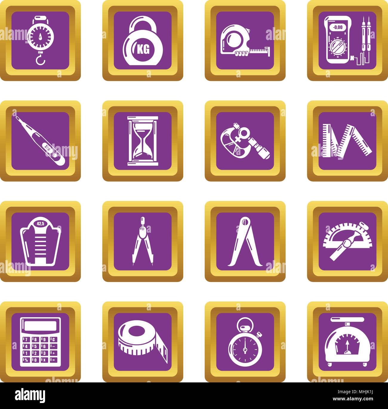 Measure precision icons set purple square vector - Stock Image
