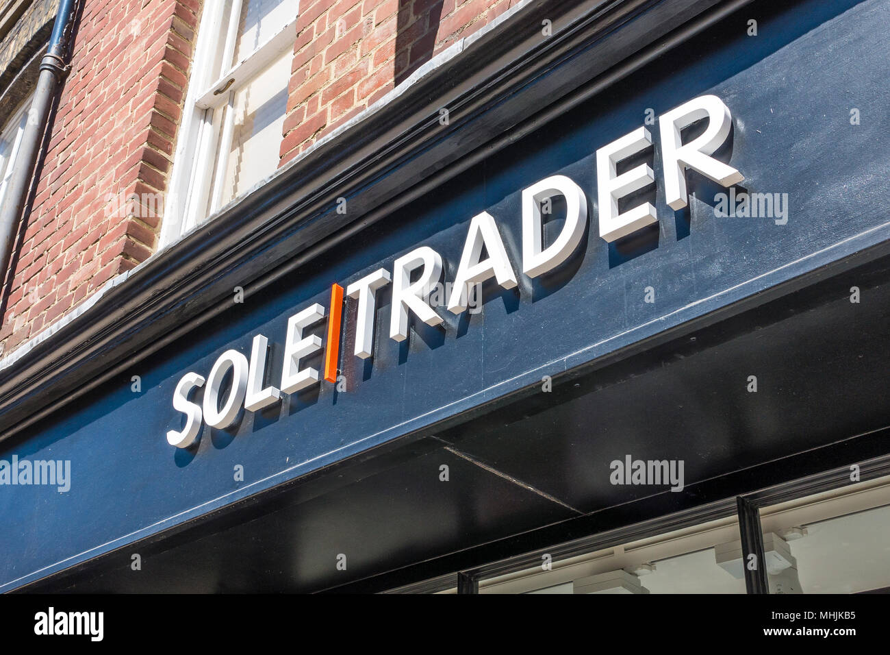 Sole Trader,Sign,Fashion,Shoe Shop,High Street,Canterbury,Kent - Stock Image