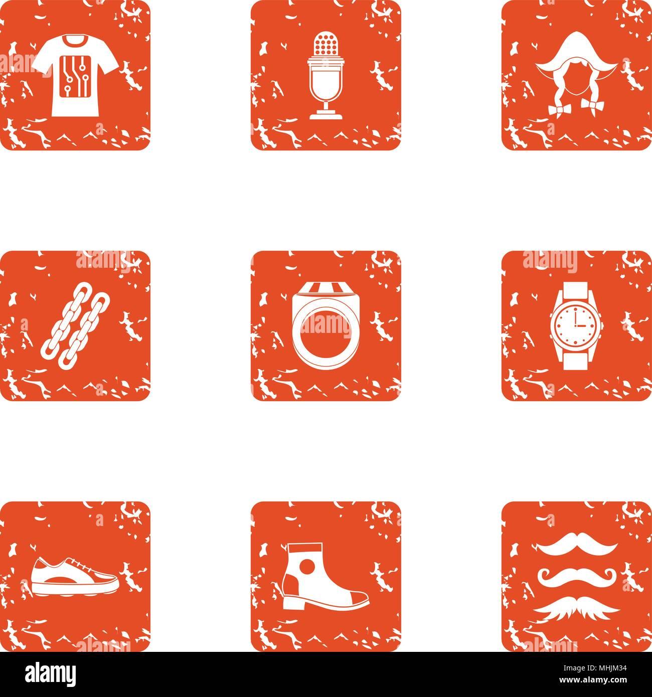 Teuton icons set, grunge style Stock Vector